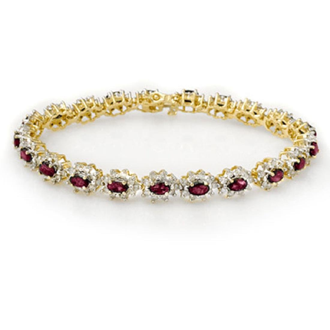 10.80 CTW Ruby & Diamond Bracelet 14K Yellow Gold