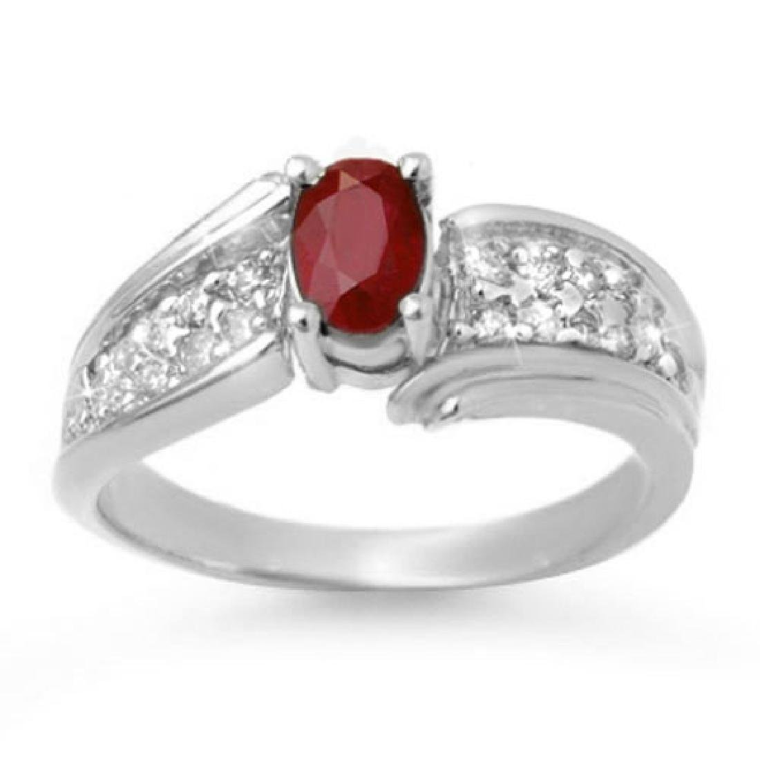 1.43 CTW Ruby & Diamond Ring 14K White Gold