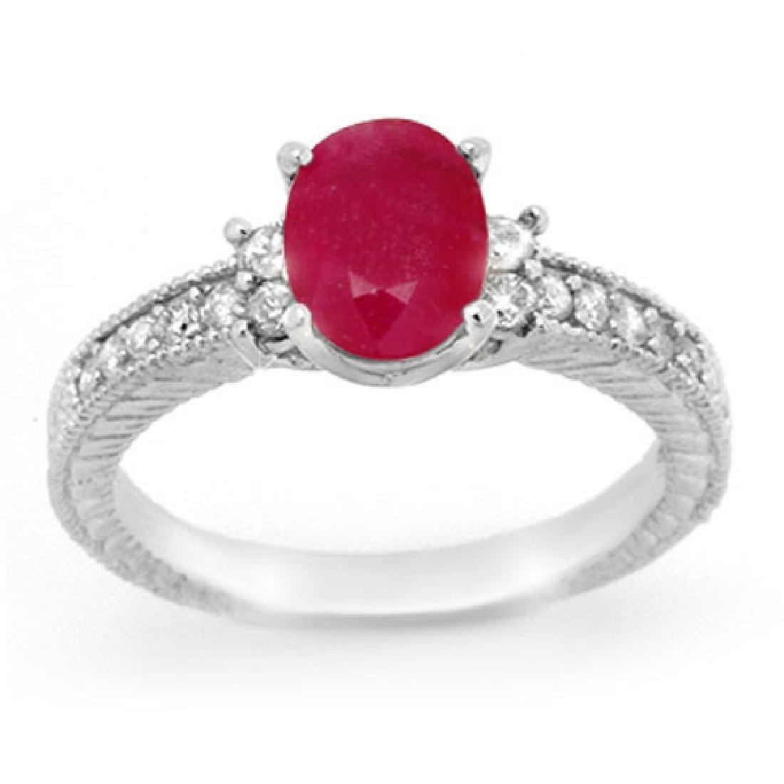 2.31 CTW Ruby & Diamond Ring 14K White Gold