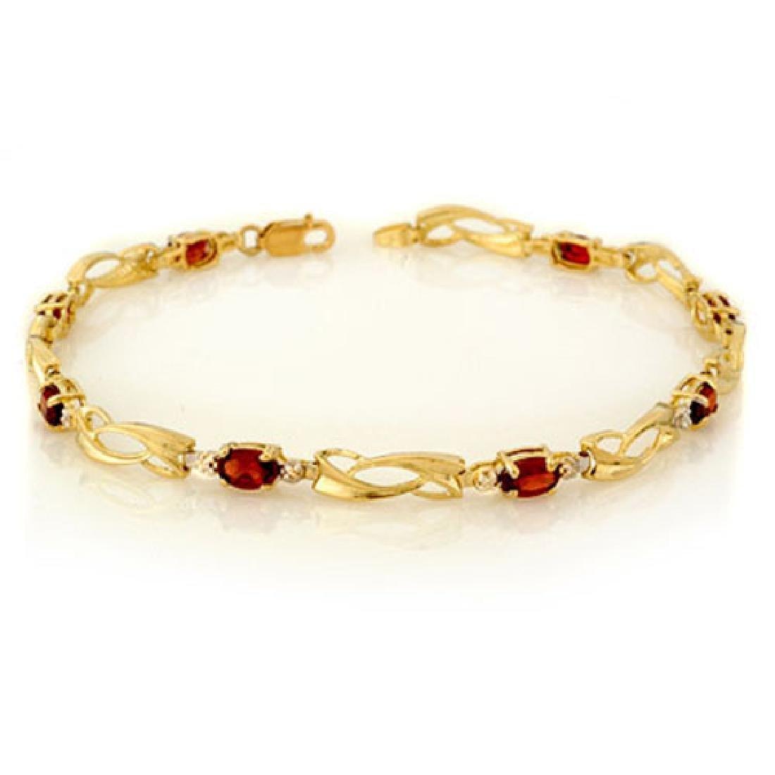 2.02 CTW Garnet & Diamond Bracelet 10K Yellow Gold