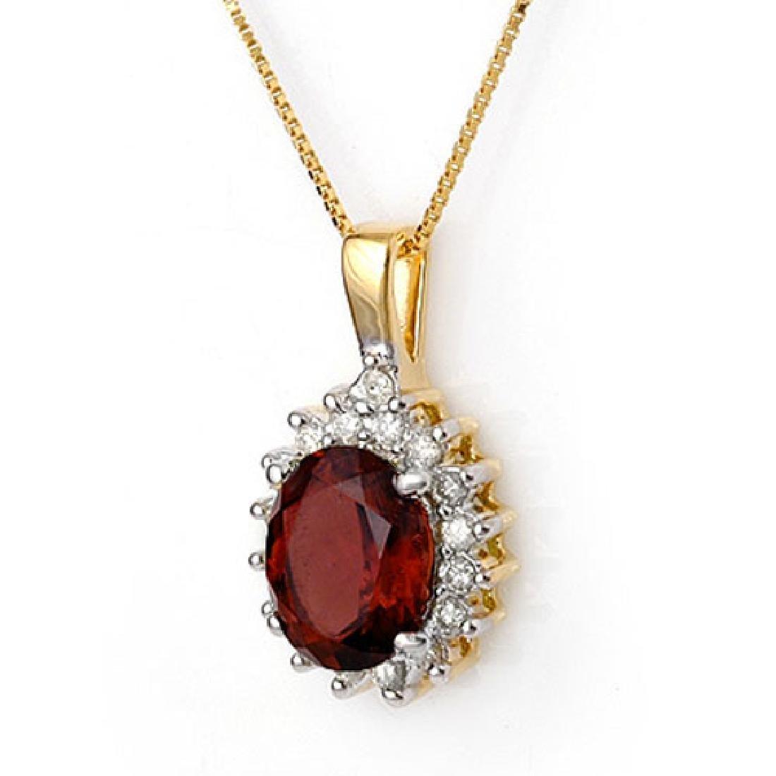 3.45 CTW Pink Tourmaline & Diamond Necklace 14K Yellow
