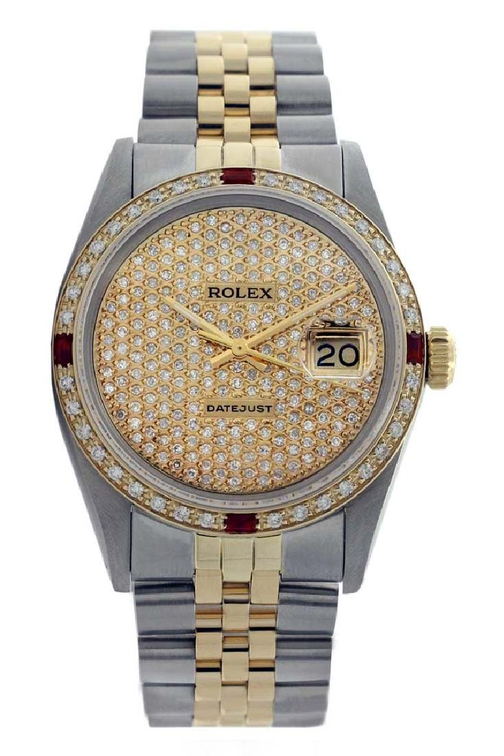 Rolex Men's Two Tone 14K Gold/SS, QuickSet, Diam Pave