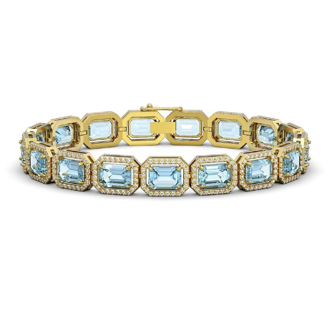 24.51 CTW Aquamarine & Diamond Halo Bracelet 10K Yellow