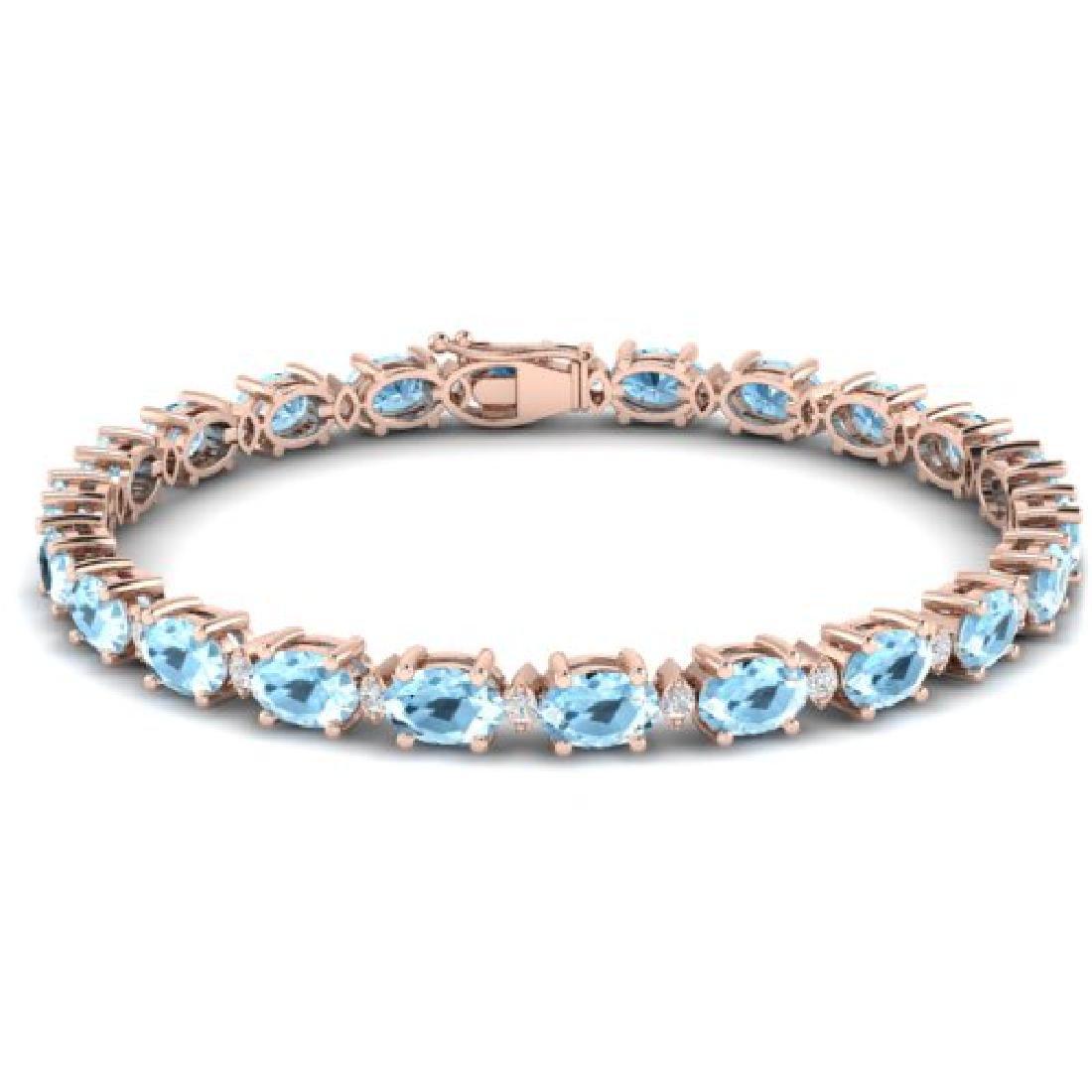 21.2 CTW Aquamarine & VS/SI Certified Diamond Eternity