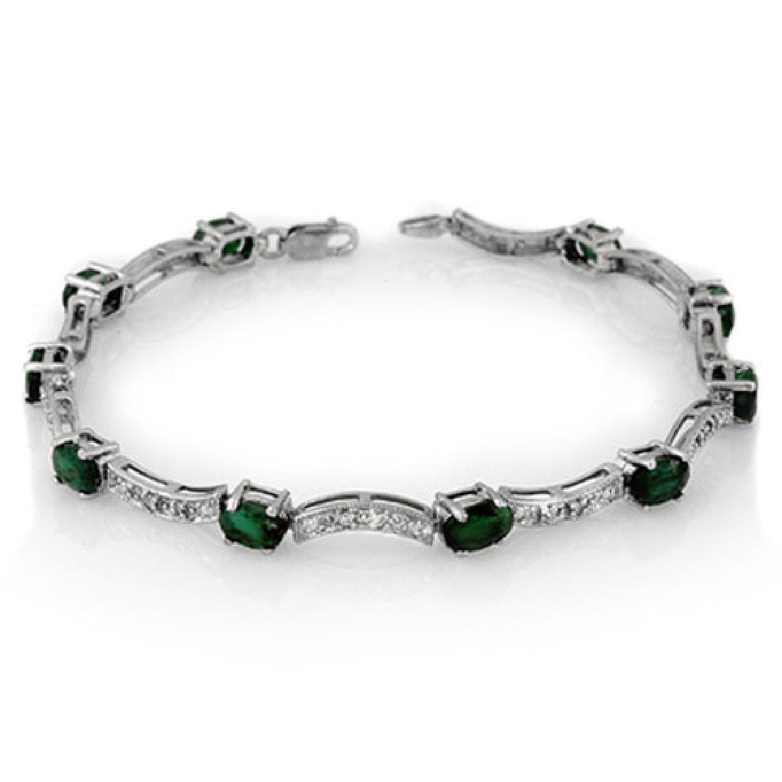 4.25 CTW Emerald & Diamond Bracelet 14K White Gold