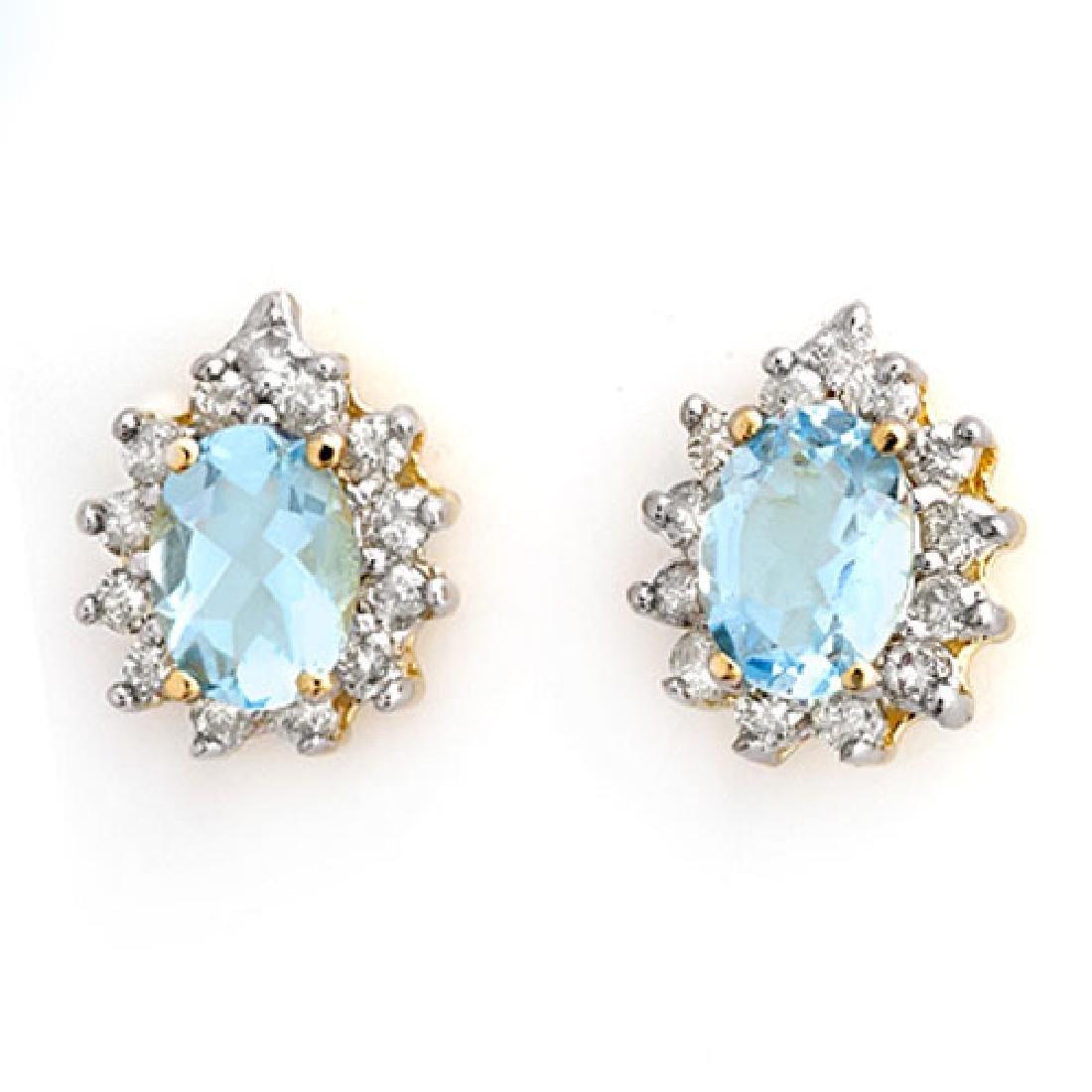 3.75 CTW Aquamarine & Diamond Earrings 14K Yellow Gold