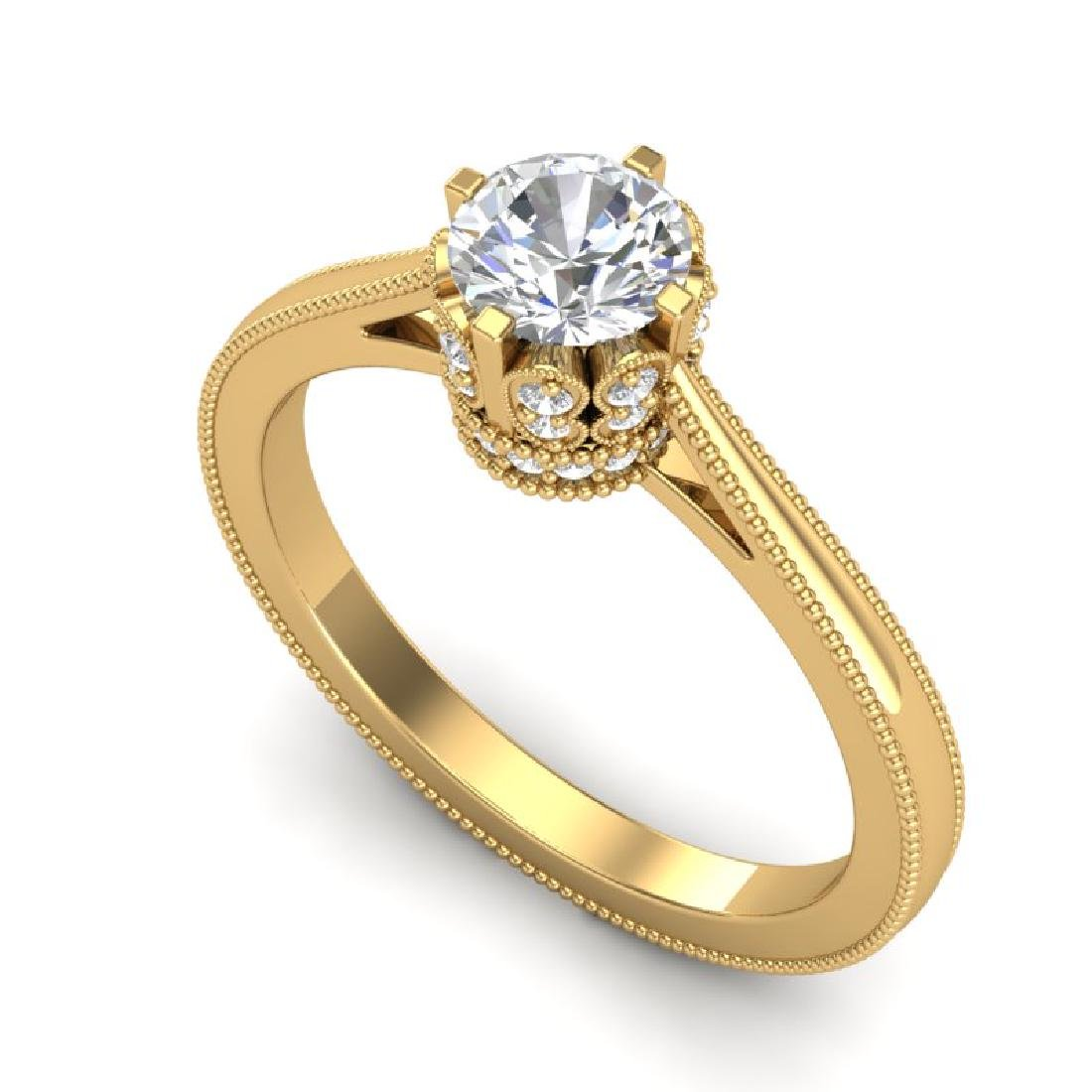 0.81 CTW VS/SI Diamond Art Deco Ring 18K Yellow Gold