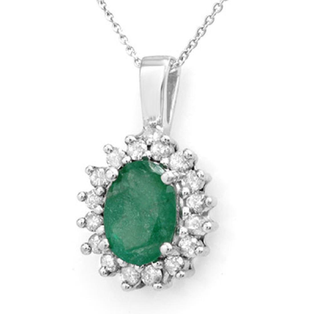 3.48 CTW Emerald & Diamond Pendant 14K White Gold