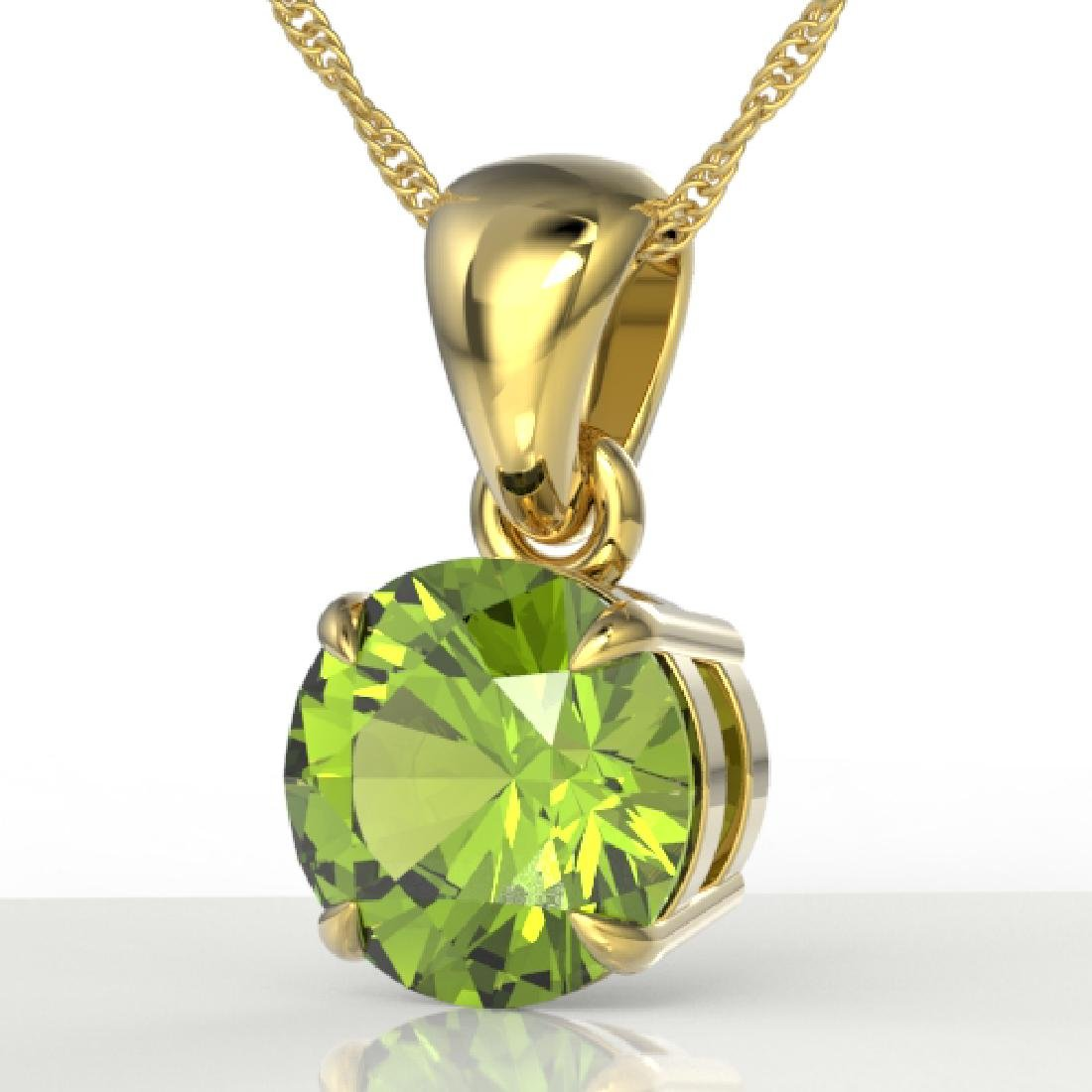 2 CTW Peridot Designer Inspired Solitaire Necklace 18K