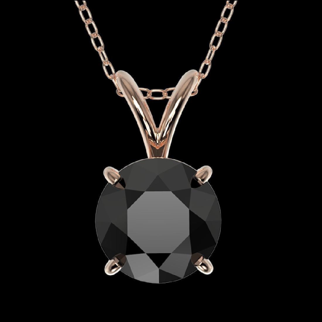 1 CTW Fancy Black VS Diamond Solitaire Necklace 10K