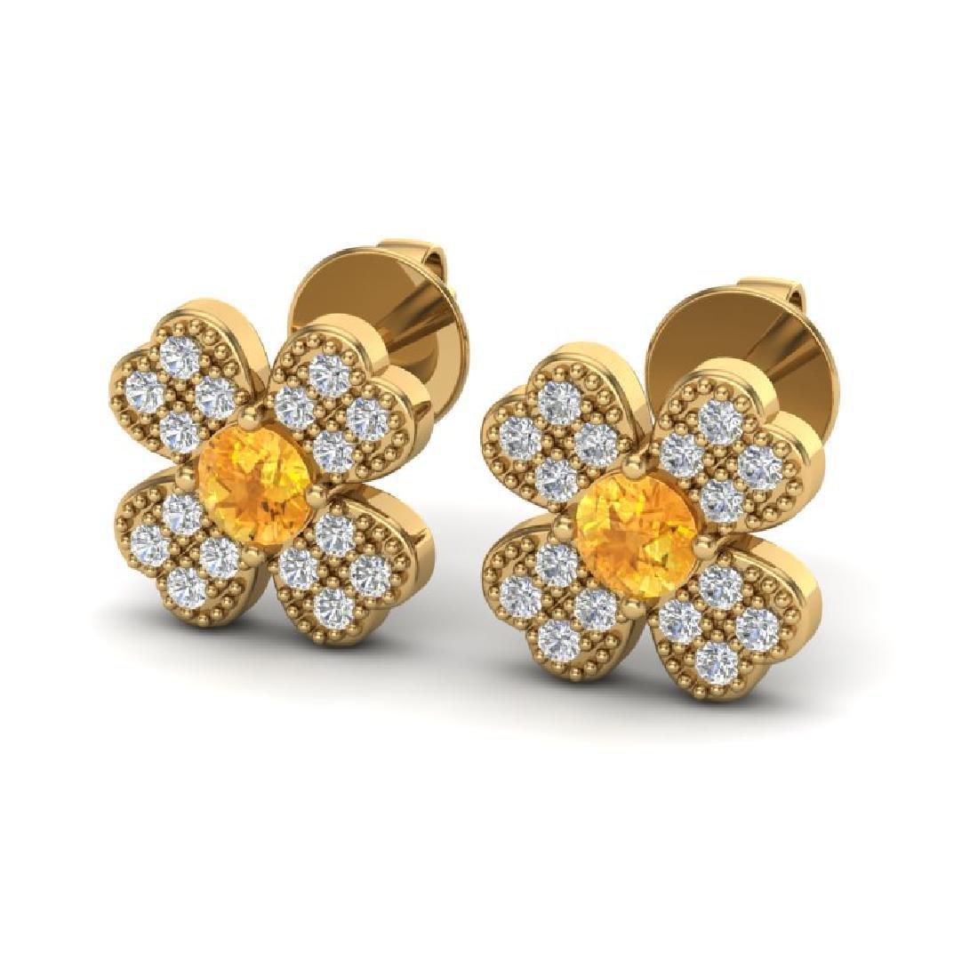 0.54 CTW Citrine & Micro Pave VS/SI Diamond Earrings