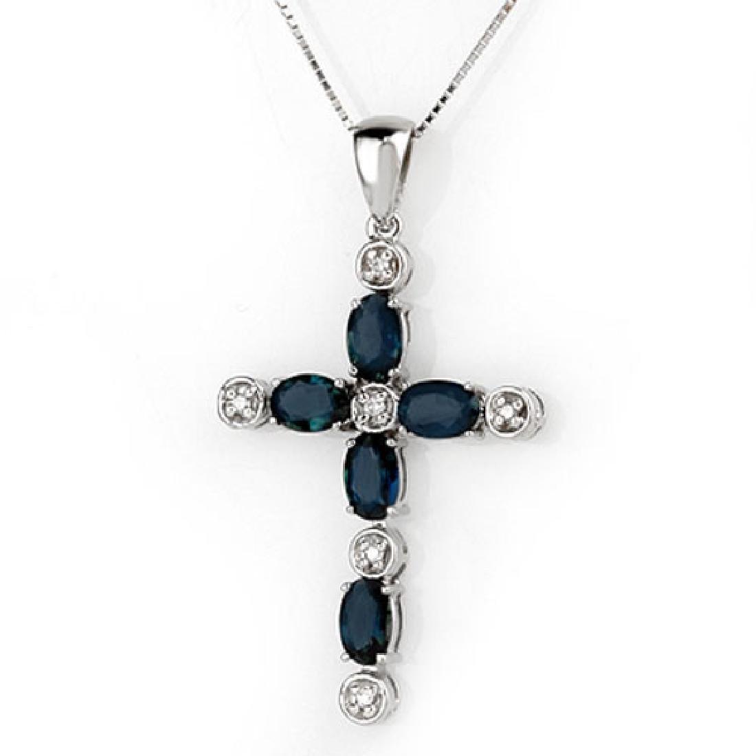 3.15 CTW Blue Sapphire & Diamond Necklace 10K White