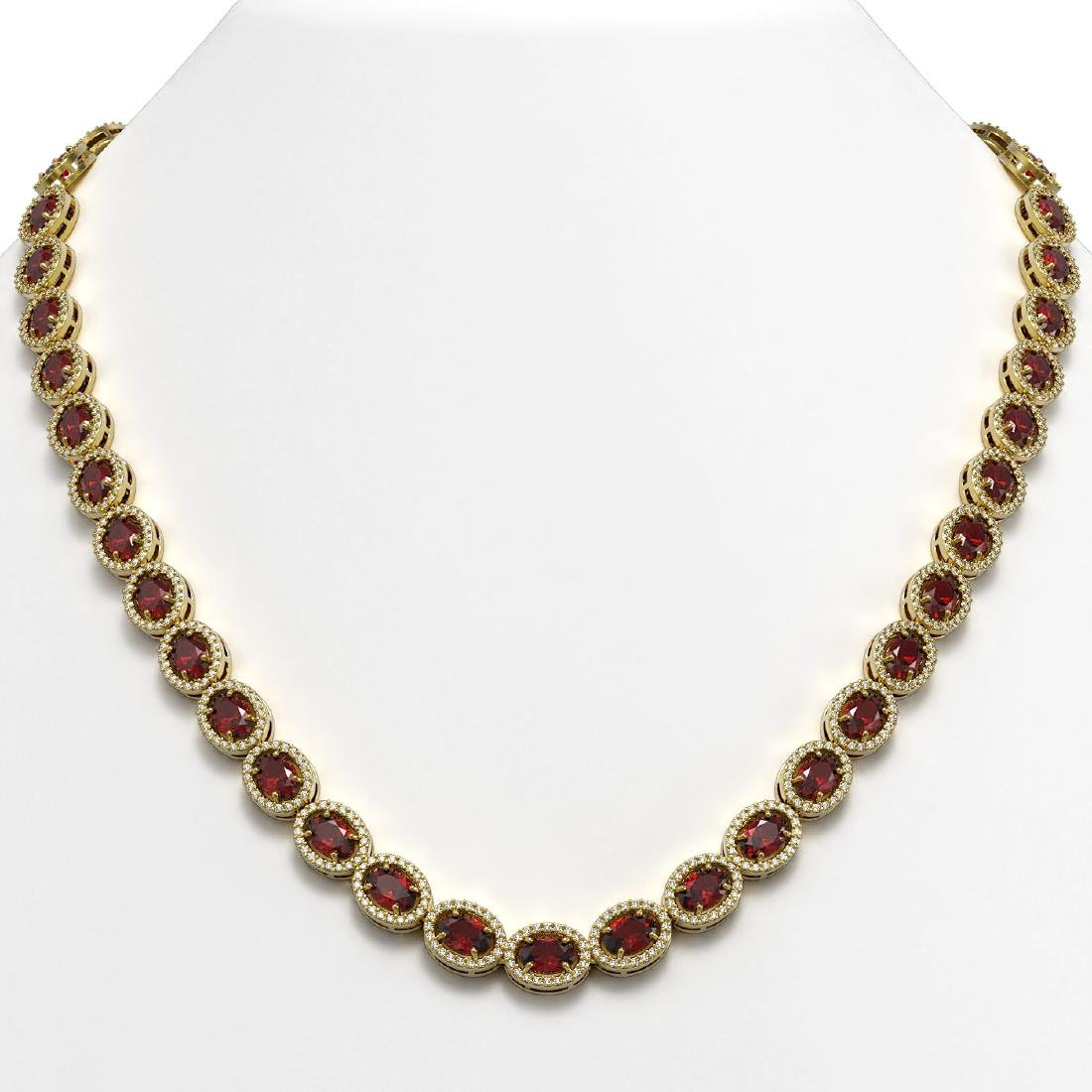 32.82 CTW Garnet & Diamond Halo Necklace 10K Yellow