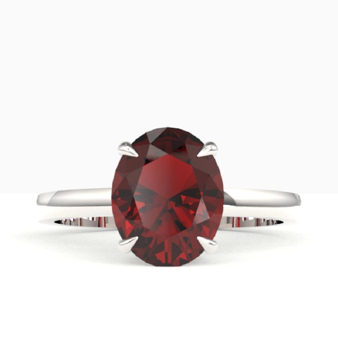 3.50 CTW Garnet Designer Inspired Solitaire Ring 18K
