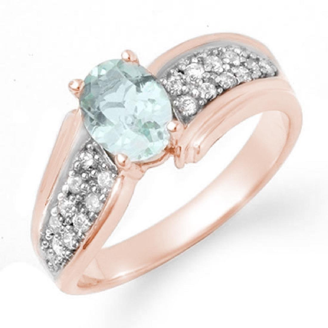 1.20 CTW Aquamarine & Diamond Ring 14K Rose Gold