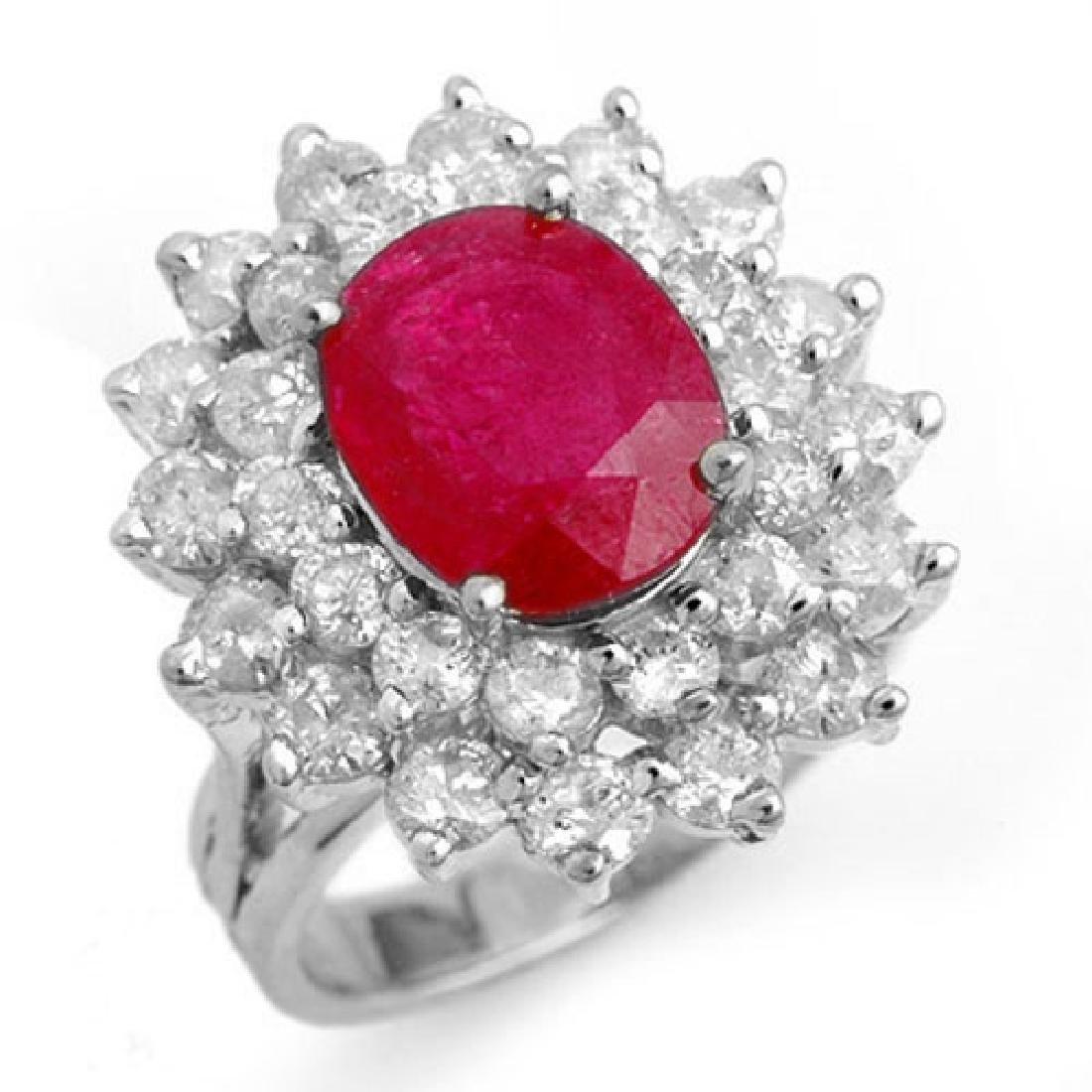 8.0 CTW Ruby & Diamond Ring 18K White Gold