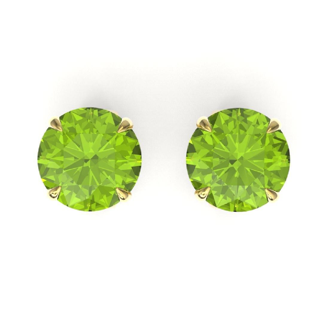 4 CTW Peridot Designer Inspired Solitaire Stud Earrings
