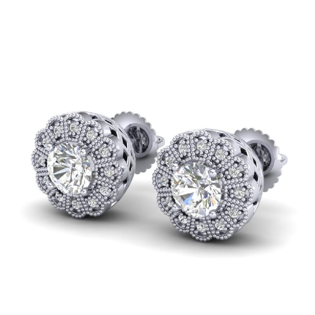 1.32 CTW VS/SI Diamond Solitaire Art Deco Stud Earrings