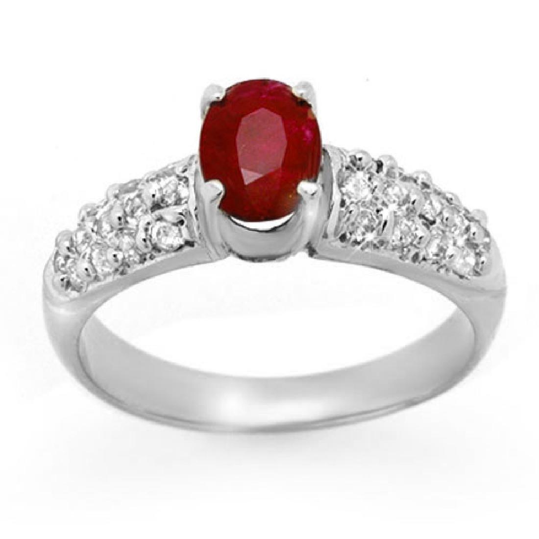 1.50 CTW Ruby & Diamond Ring 18K White Gold