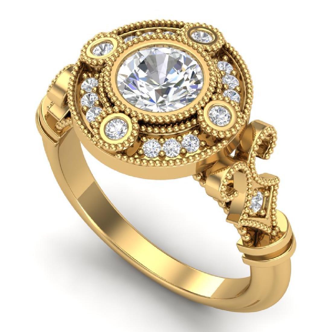 1.12 CTW VS/SI Diamond Solitaire Art Deco Ring 18K