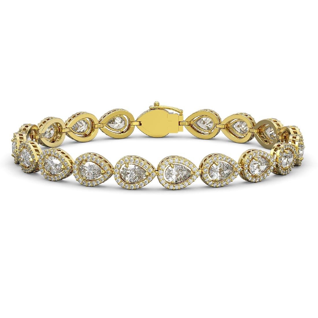 14.28 CTW Pear Diamond Designer Bracelet 18K Yellow
