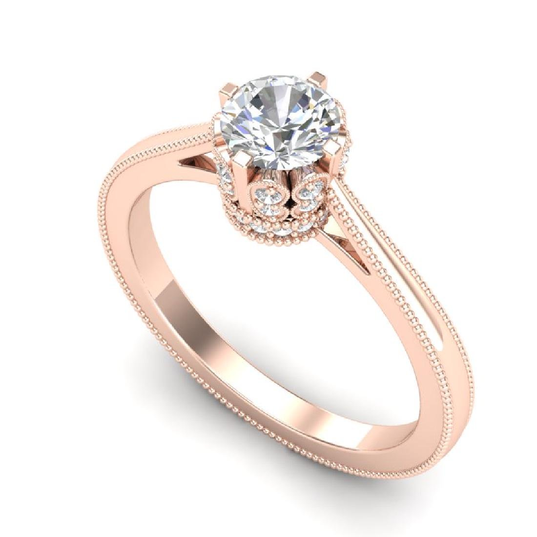 0.81 CTW VS/SI Diamond Solitaire Art Deco Ring 18K Rose