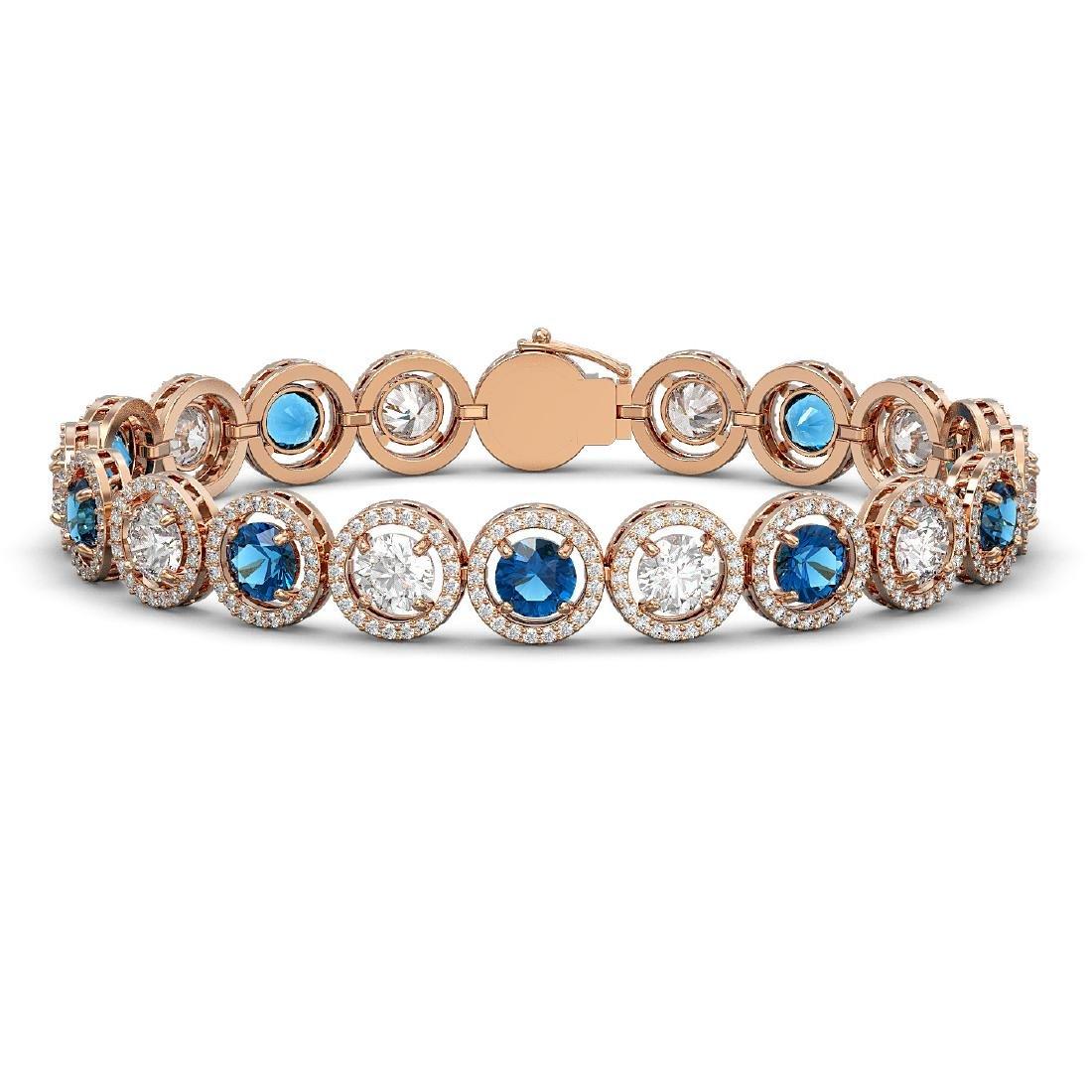 15.35 CTW Blue & White Diamond Designer Bracelet 18K
