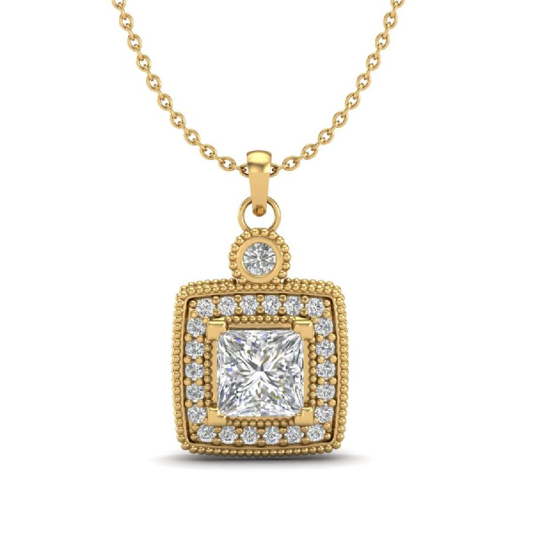 0.91 CTW Princess VS/SI Diamond Art Deco Stud Necklace