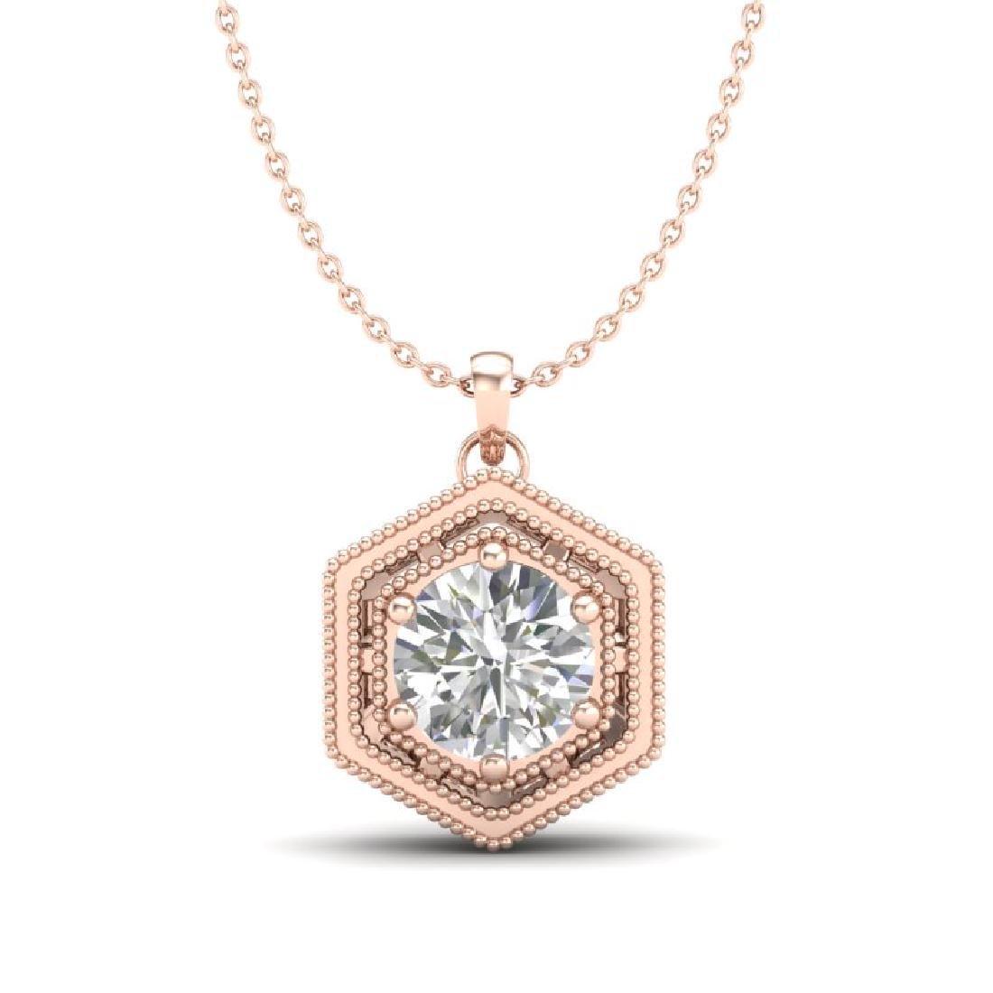 0.76 CTW VS/SI Diamond Solitaire Art Deco Stud Necklace
