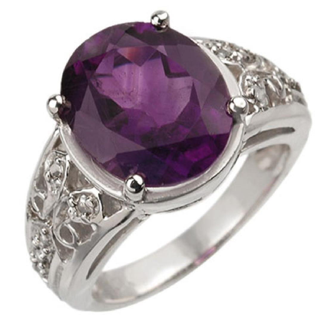4.65 CTW Amethyst & Diamond Ring 10K White Gold