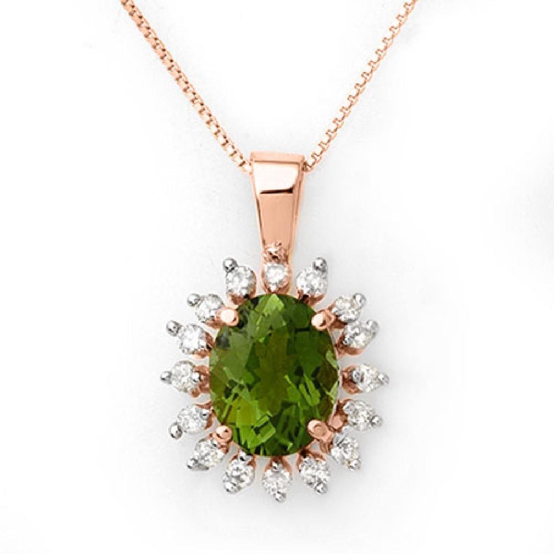 3.55 CTW Green Tourmaline & Diamond Necklace 14K Rose