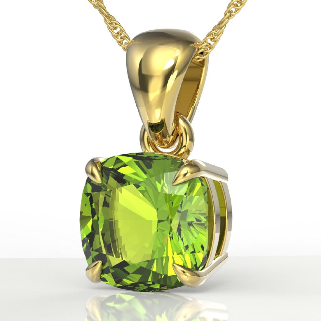 2 CTW Cushion Cut Peridot Designer Solitaire Necklace