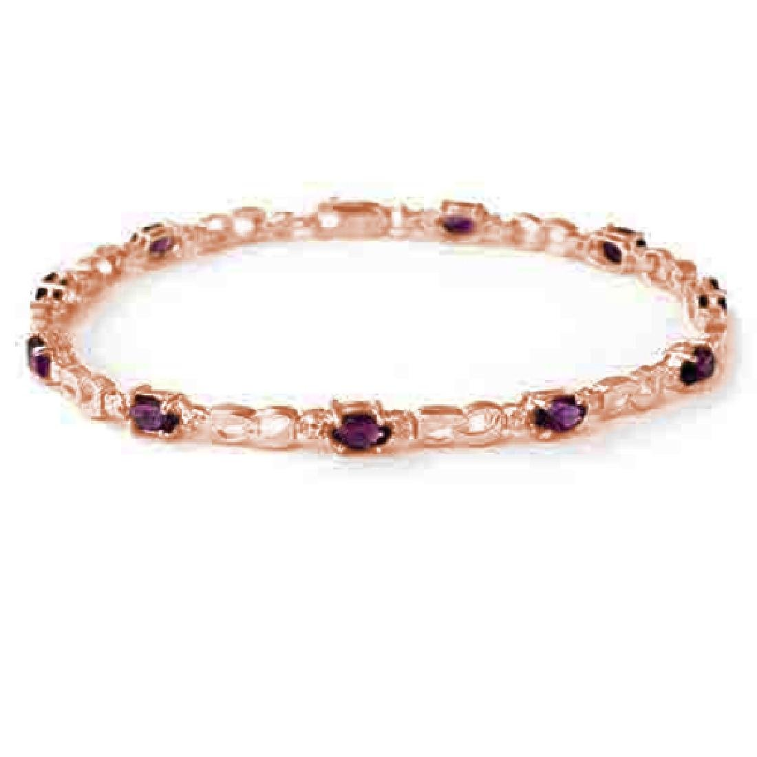 2.03 CTW Amethyst & Diamond Bracelet 10K Rose Gold