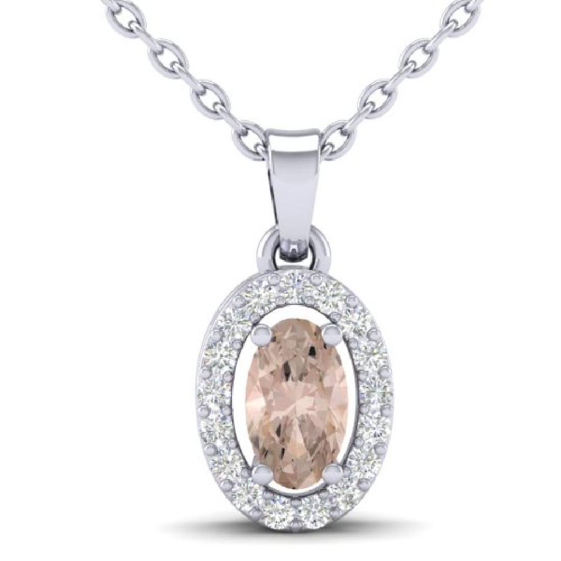0.41 CTW Morganite & Micro Pave VS/SI Diamond Necklace