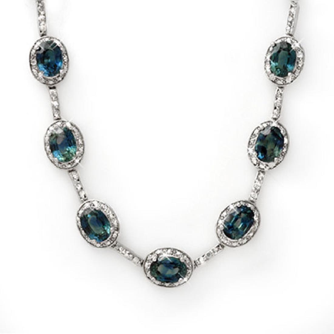 31.0 CTW Blue Sapphire & Diamond Necklace 14K White