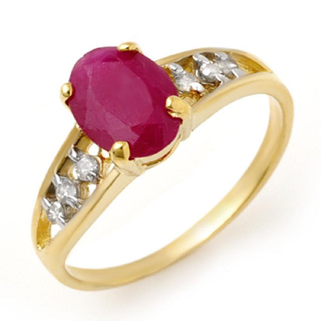 1.70 CTW Ruby & Diamond Ring 10K Yellow Gold