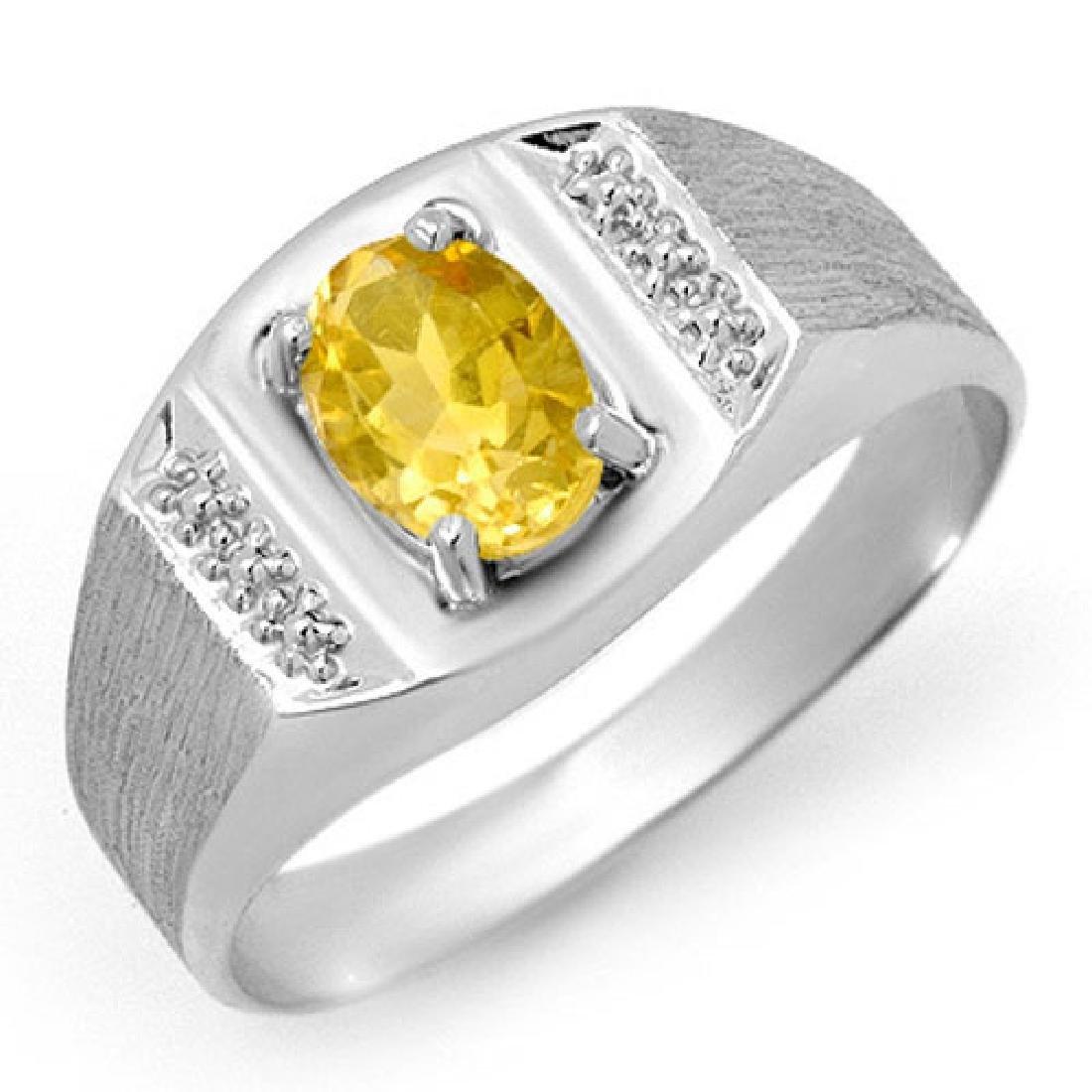 2.0 CTW Citrine Men's Ring 10K White Gold