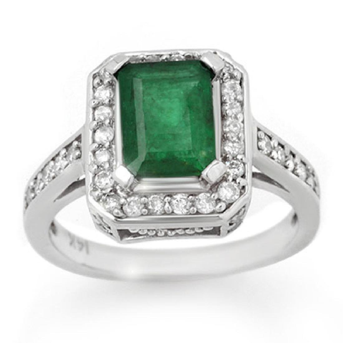 2.0 CTW Emerald & Diamond Ring 18K White Gold
