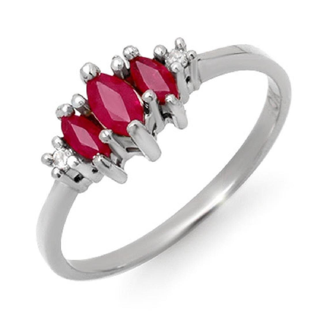 0.54 CTW Ruby & Diamond Ring 18K White Gold