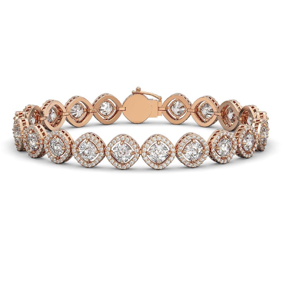 15.58 CTW Cushion Cut Diamond Designer Bracelet 18K