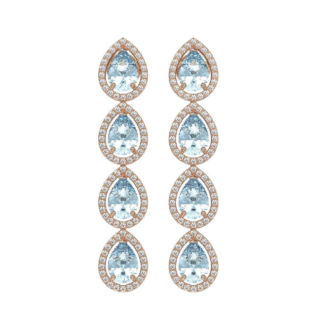 7.41 CTW Aquamarine & Diamond Halo Earrings 10K Rose