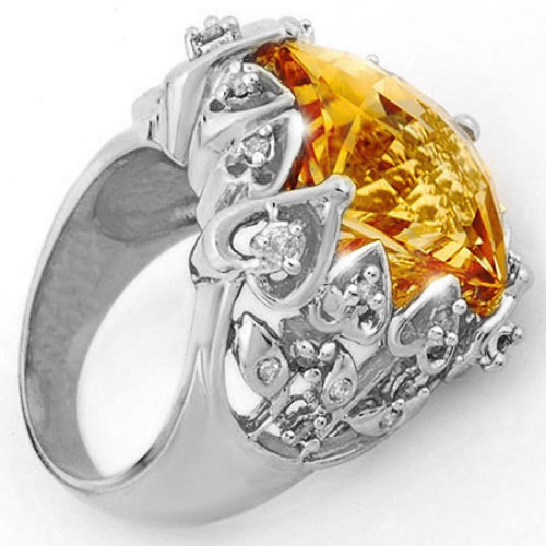 11.40 CTW Citrine & Diamond Ring 10K White Gold