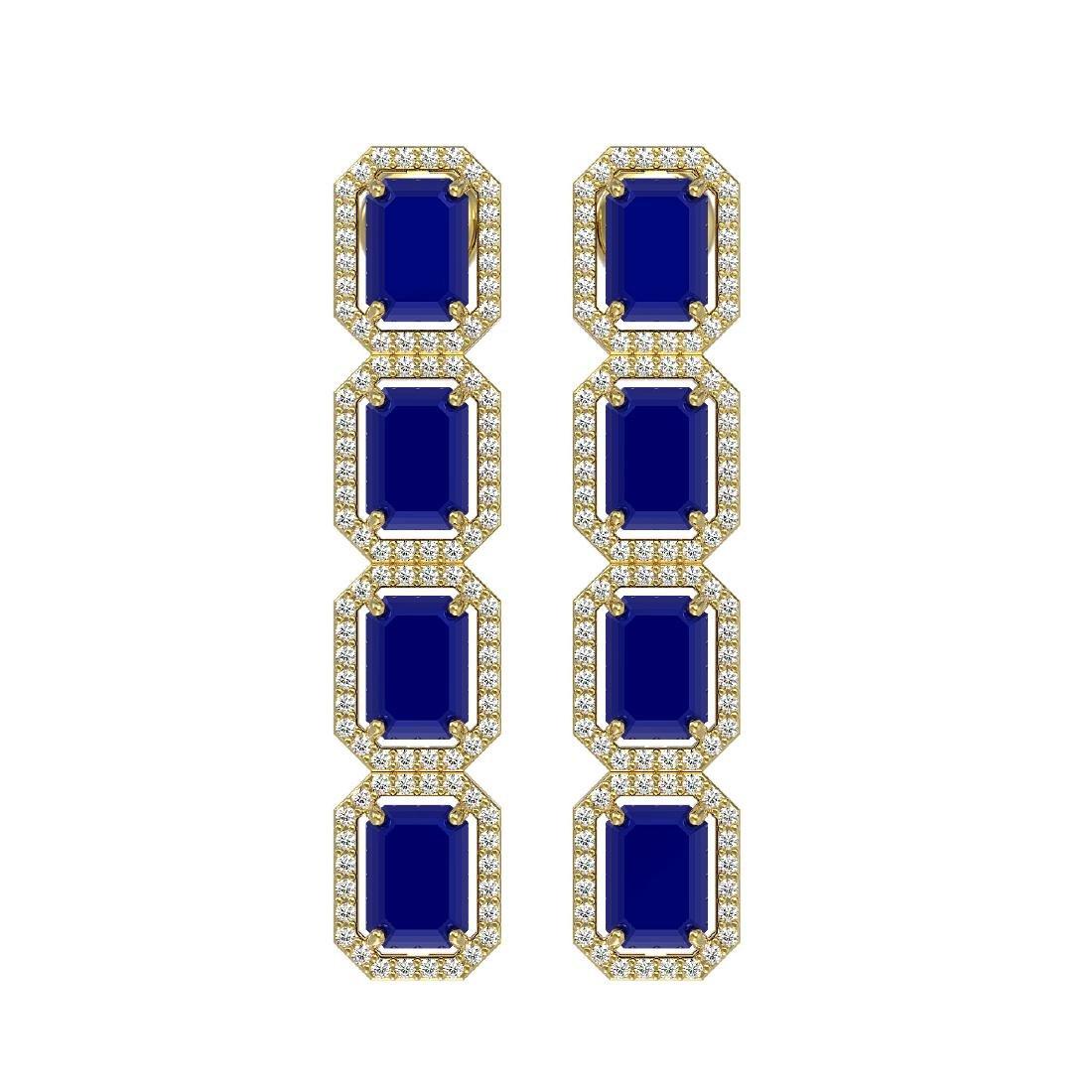 12.33 CTW Sapphire & Diamond Halo Earrings 10K Yellow