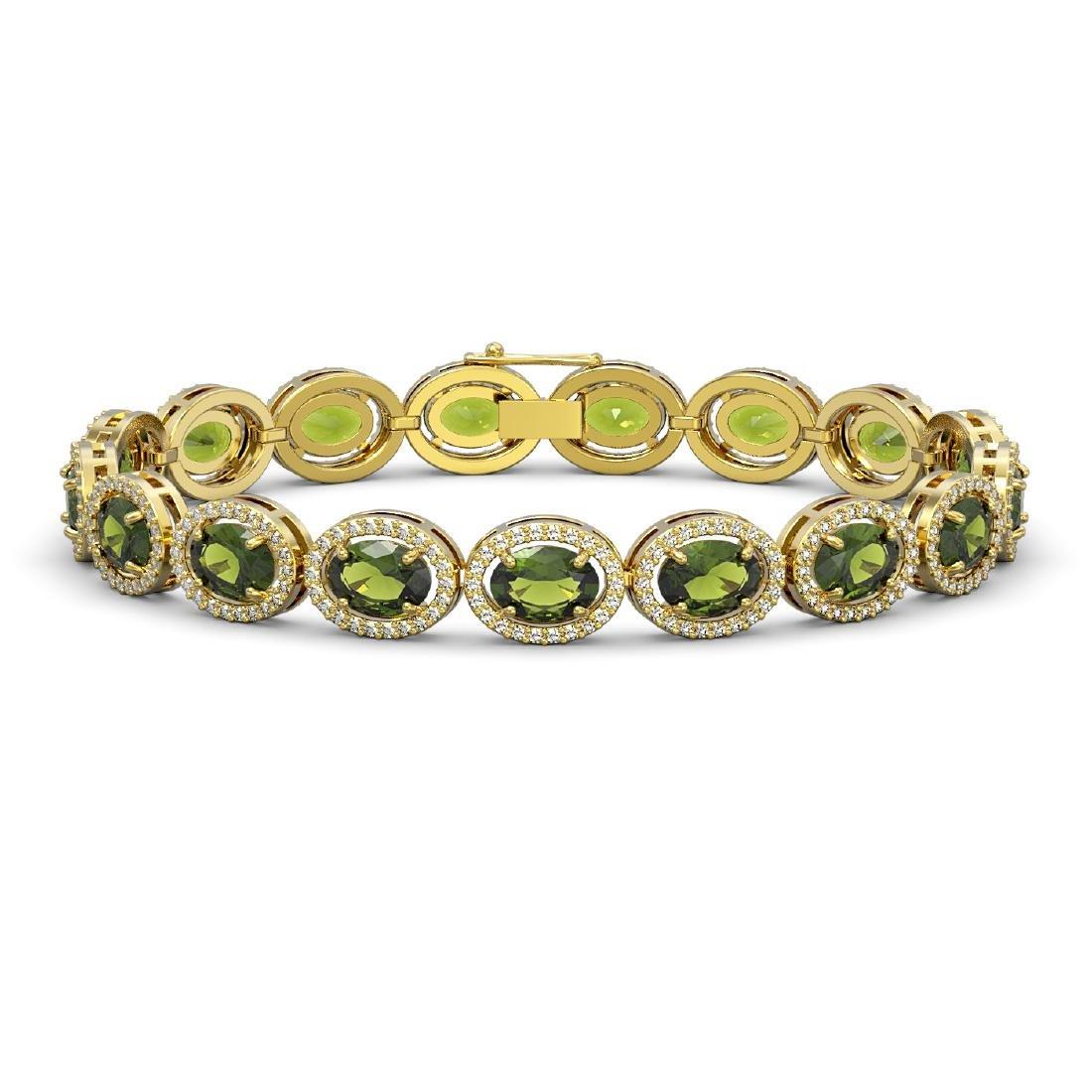 21.71 CTW Tourmaline & Diamond Halo Bracelet 10K Yellow