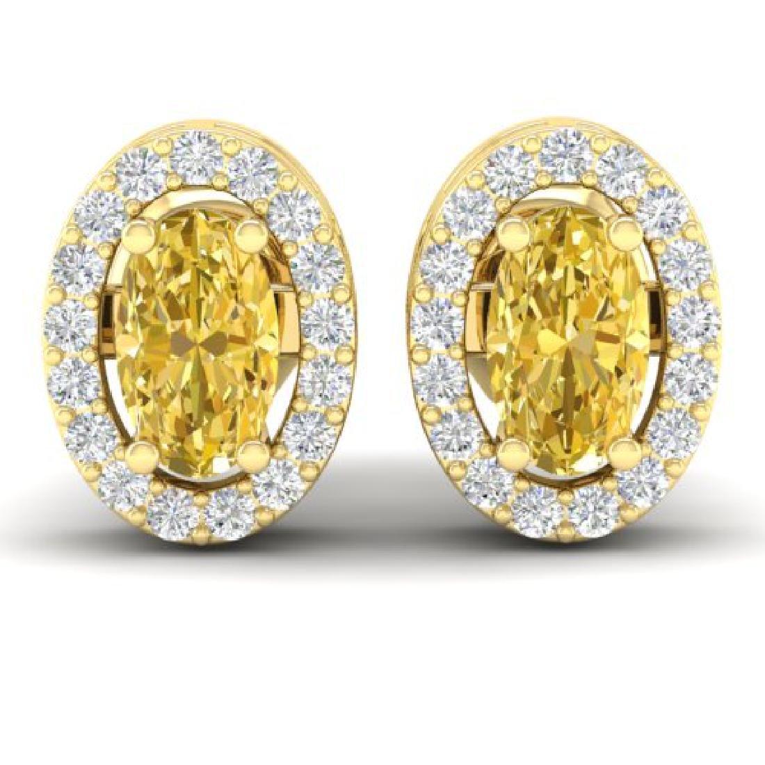 0.75 CTW Citrine & Micro Pave VS/SI Diamond Earrings
