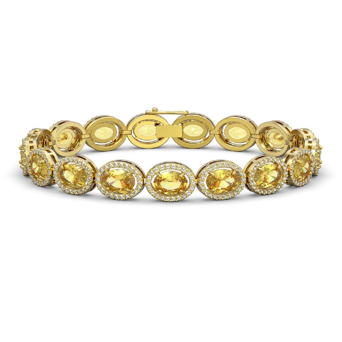 20.36 CTW Fancy Citrine & Diamond Halo Bracelet 10K