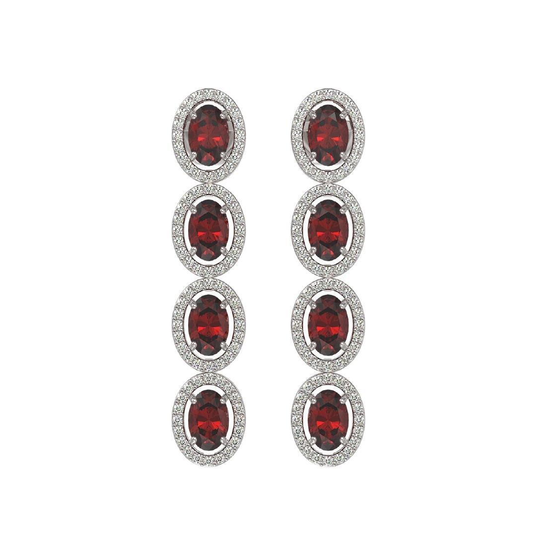 6.2 CTW Garnet & Diamond Halo Earrings 10K White Gold