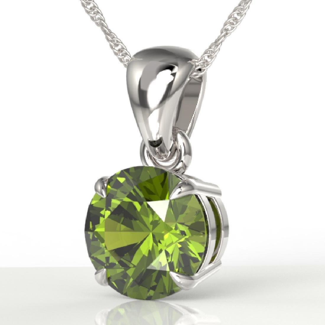 2 CTW Green Tourmaline Designer Solitaire Necklace 18K