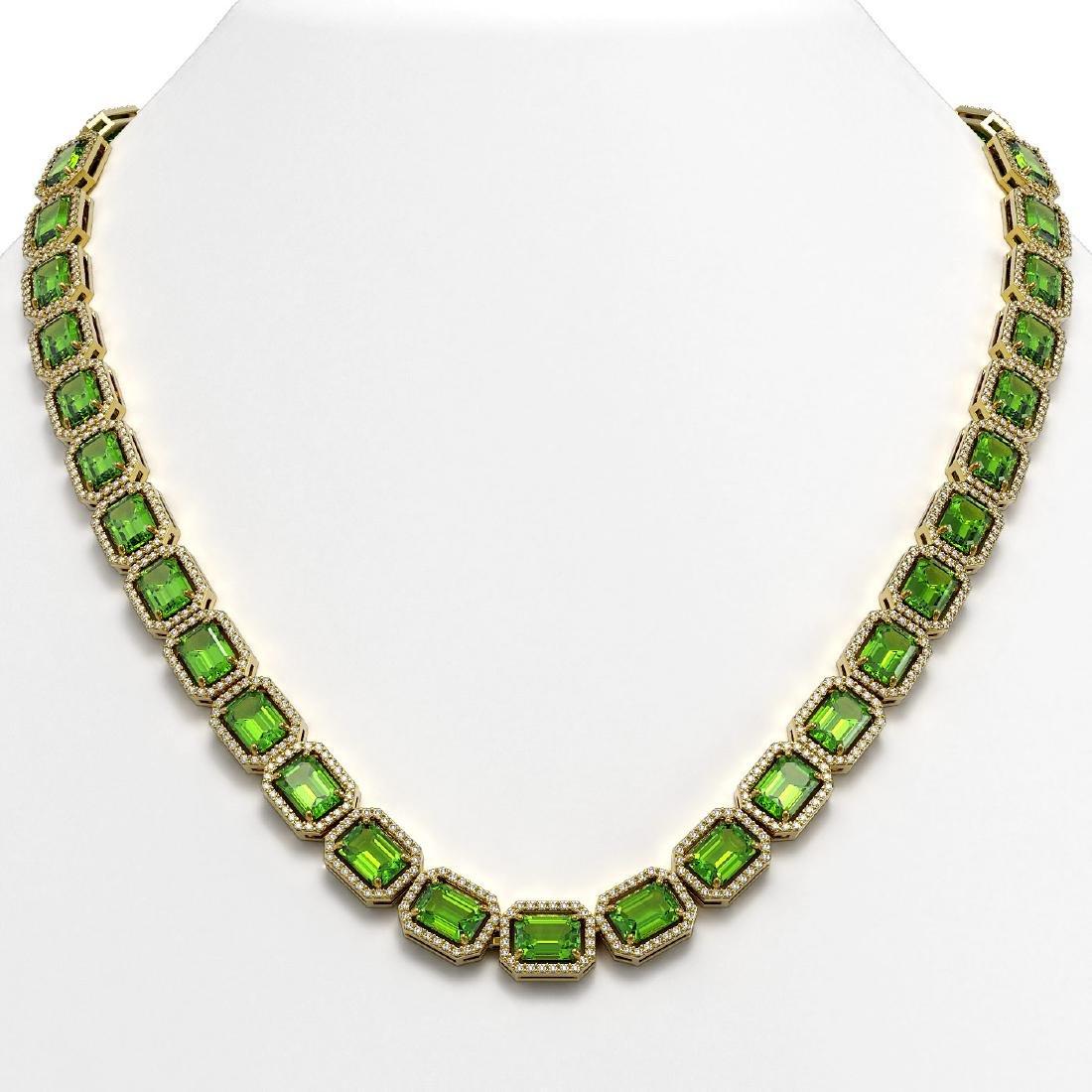 57.3 CTW Peridot & Diamond Halo Necklace 10K Yellow
