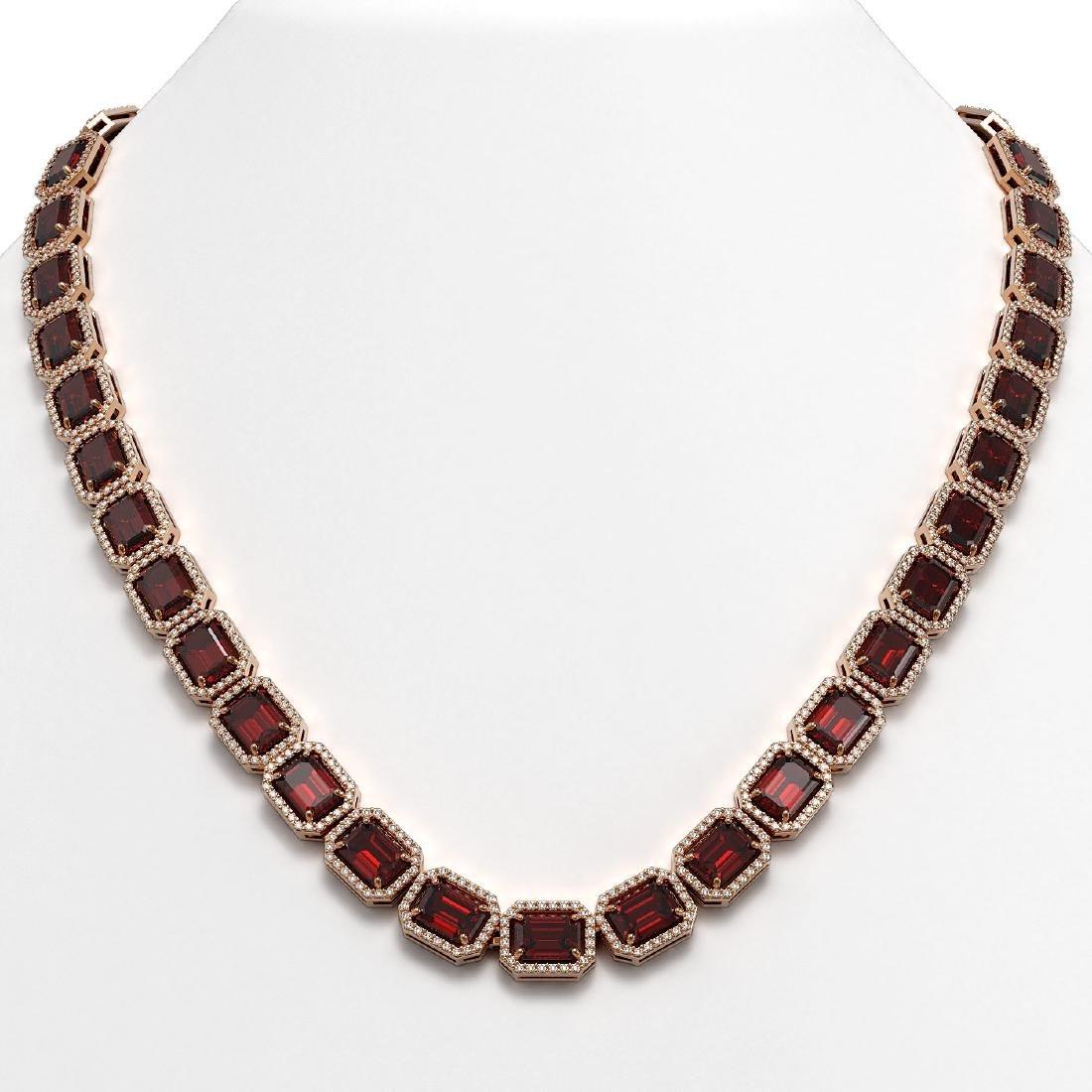 60.59 CTW Garnet & Diamond Halo Necklace 10K Rose Gold